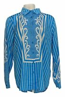 Bob Mackie Women's Top Sz L Pinstriped Button Front Blouse Blue A305229