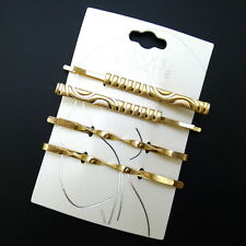 "Pretty Set of 4 Gold 2.5"" Carved Twist Updo Clips Fashion Hair Pins Bobby Slides"