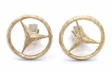 Vtg 1950s Modernist MERCEDES BENZ Sterling Silver GOLD Gilt LOGO Cufflinks