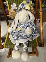 Vintage Easter Bitsy Bunnies & Bows  w/Teacup & Straw hat