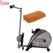 Sunny Health and Fitness Elastic Cord Rowing Machine Rower w/ LCD+Cooling Towel