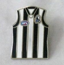 33697 COLLINGWOOD MAGPIES AFL TEAM GUERNSEY LAPEL TIE HAT PIN