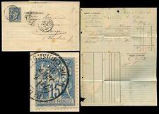 FRANCE 1884 CREDIT LYONNAIS PERFIN REVERSED + LETTER
