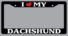Black License Plate Frame I Heart My Dachshund Auto Accessory Novelty 363