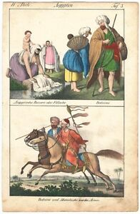 Egypt, Bedouin and Mamluks, colored lithography ca. 1820