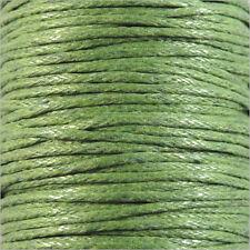 Cordon Coton Ciré 1mm – 4 Mètres Vert Anis pour Colliers et Bracelets de perles