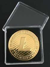 24k Gold Plated Litecoin Crypto currency. 1 oz. Gold Novelty Coin With Case