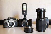 PRAKTICA SLR Film Cameras and Lenses Package + Flash