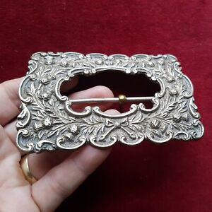 Antique Victorian Belt Buckle Silver Plated EPNS