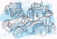 Fiat Fiatagri To New Holland Progression Sketch Tractor Brochure Poster A3
