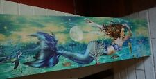 "Lighted 30"" Mermaid Sea Turtle Sign Framed Nautical Coastal Beach Home Decor New"