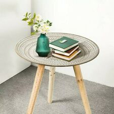 Round Wood Coffee Table Bed Sofa Side Table Tea Fruit Snack Serve plate furnitur