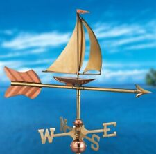 Good Directions Brass & Copper Sailboat Cottage Weathervane - Roof Mount