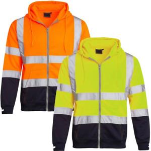Men's PW03 Zip Up Fleece Two Tone Hi Vis Work Hoody Safety Jacket Top