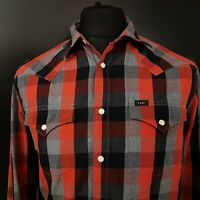 Lee Mens Western Shirt Pearl Poppers SMALL Long Sleeve Red SLIM FIT Check Cotton
