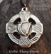 Celtic Harp Cross - Pewter Pendant - Music, Knotwork, Renaissance, Jewelry