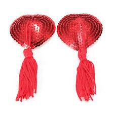 Pair of Heart Nipple Tassels / Pasties / Self Adhesive Breast Covers / Tassles