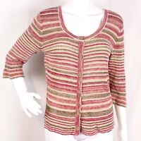J Jill Womens Sz M Striped 3/4 Sleeve Linen Blend Ribbed Sweater Button Front
