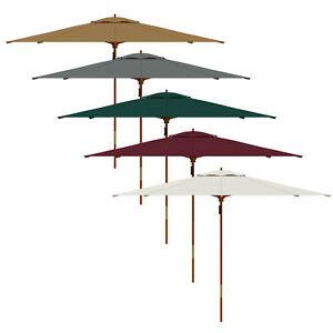 Parasol en bois rond imperméable jardin terrasse protection soleil Ø3m PARAMONDO