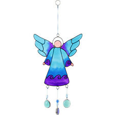 Blue Purple Angel Suncatcher With Hanging Nuggets 28cm Beautiful Sun Catcher