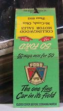 Vintage Matchbook Cover P1 McComb Ohio Collingwood Motor Sales 1950 Ford Car