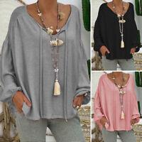 Mode Femme Tops Casual Manche Longue élastique Bouffant Simple Haut Shirt Plus