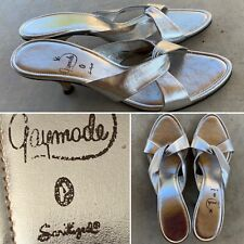 Vintage Gaymode Silver Leather Shoes Slides Heels 7411 275 (may be 7.5 see pics)