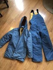 Vintage Denim Jean Ski Suit Snow Pants Jacket Winter Yellow Medium Set Coat