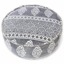 "24 X 8"" Black Gray Grey Dhurrie Round Pouf Pouffe Ottoman Cover Floor Seati"