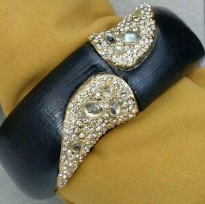Alexis Bittar Hand Carved Gray Black Lucite Rhinestone Hinge Clamper Bracelet