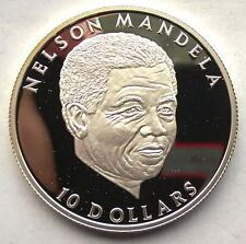 Liberia 2001 Nelson Mandela 10 Dollars Silver Coin,Proof