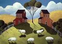 Farm sheep folk primitive farm gift art ACEO print of painting DC landscape tree