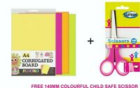 A4 Craft Paper 8 Pieces Colorful Corrugated Card Crafts Supply + FREE SCISSOR