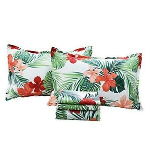 Hawaiian Bedding Sheet Set Tropical Red Palm Leaves 100% Cotton Twin Hibiscus