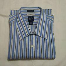 MS20 Gap Men's XL 18/36 Blue/White/Tan/Black Stripe Shirt