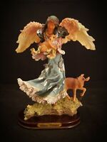 """Soltano Collection Resin 10.75"""" Native American Angel, Fawn & Deer Attached Base"""