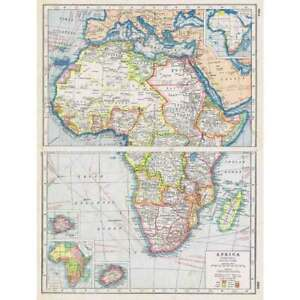 Antique Map 1920 AFRICA (General) Showing European Possessions, Harmsworth Atlas