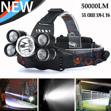 50000Lumens 5xXM-L T6 LED Rechargeable 18650 Headlamp Head Light Torch Headlight