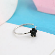 1PC Body Rhinestone Crystal Nose Hoop Ring Stud Flower Charm Silver Jewelry Gift
