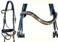 FSS GOLD METEOR U CRYSTAL ROCKS BLING FREEFORM Crown Cut-Away Comfort Bridle NEW