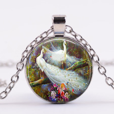 """20"""" Necklace chain Free $10 Gift Peacock Bird Flower mom women pendant Silver"""