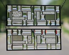 •Clear Geo • Sold Separately  2 PANELS Available Beveled Stained Glass Window