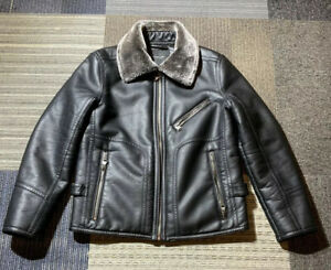 Mens Marc New York Medium Faux Leather Bomber Moto Jacket with Faux Fur Collar