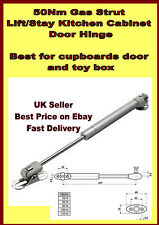 GAS STRUT KITCHEN CABINET CUPBOARD DOOR HINGES BLANKET TOY BOX LID GAS STAY 50Nm
