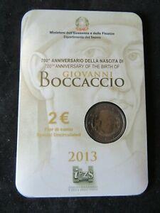 2 Euro Commémorative Coincard Bu Italie 2013 Boccaccio