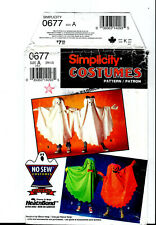 Ghost Halloween Costume Pattern + Applique Simplicity 0677 Kids S M L NO SEW CUT