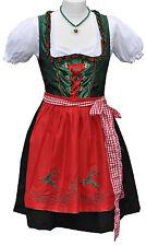 Dirndl Minidirndl Trachtenkleid Grün Rot mit Stickerei 3 tlg. S ( 36 / 38 )