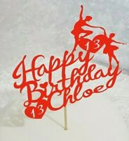 Personalised Happy Birthday Cake Topper Ballet Dancers Any name Any Age