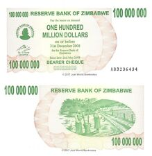 Zimbabwe 100 Million Dollars 2008 P-58 Banknotes UNC