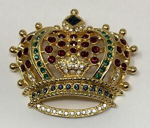 Kenneth Jay Lane KJL Jeweled Regal Crown Brooch (B)
